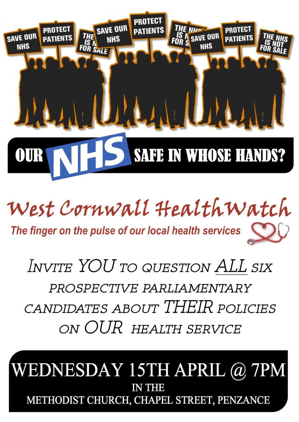 West Cornwall HealthWatch Hustings Poster